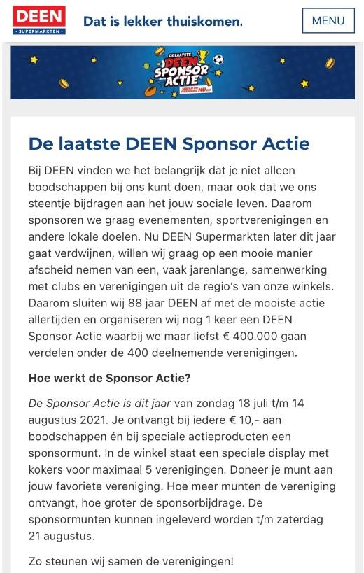 Deen sponsoractie - 18 juli tm 21 augustus